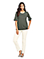 Le T-Shirt en Coton/Modal Stretch Manches à Volants, Femme Stature Standard