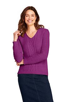 Leichter Zopfmuster-Pullover mit V-Ausschnitt für Damen in Normalgröße