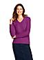 Leichter Zopfmuster-Pullover mit V-Ausschnitt für Damen in Petite-Größe