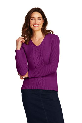 Women's Petite Cable V-neck Jumper
