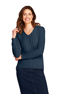 Women's Cable V-neck Jumper