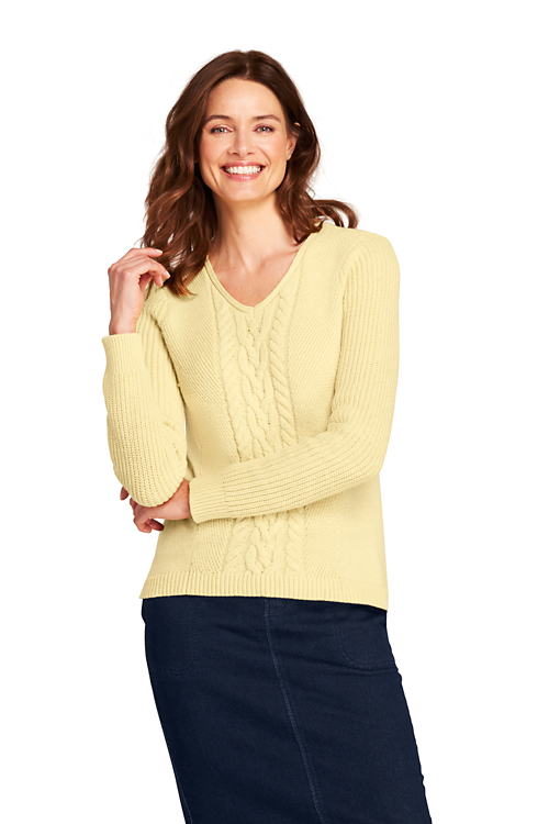 Leichter Zopfmuster-Pullover mit V-Ausschnitt Preisvergleich