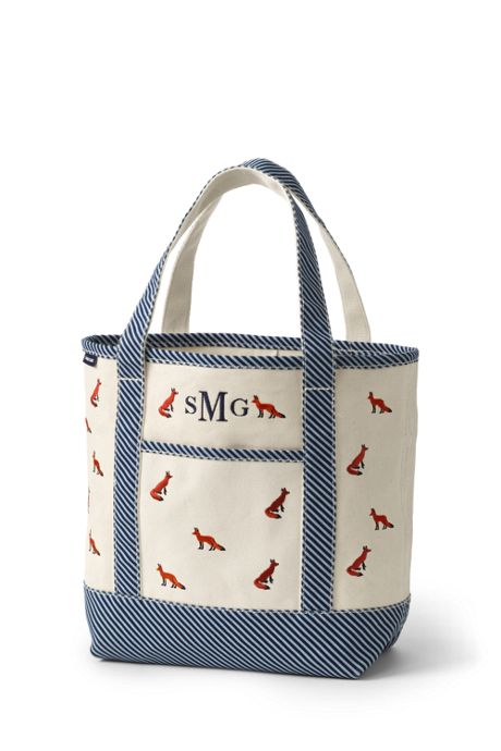 Embroidered Medium Open Top Canvas Tote Bag