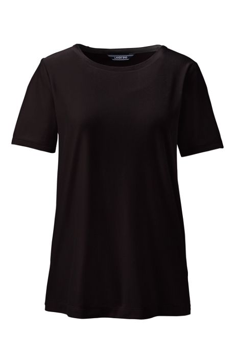 Women's Petite Velvet Short Sleeve T-shirt Crewneck