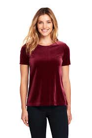 Women's Velvet Short Sleeve T-shirt Crewneck