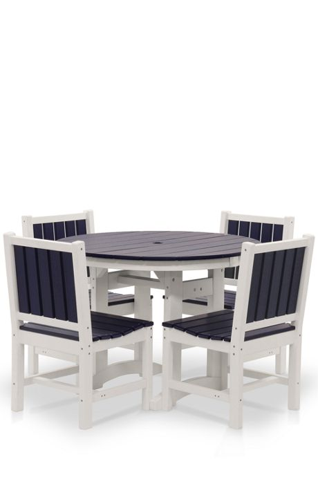 All-Weather Recycled 42 Inch Round Dining Set 2-Tone
