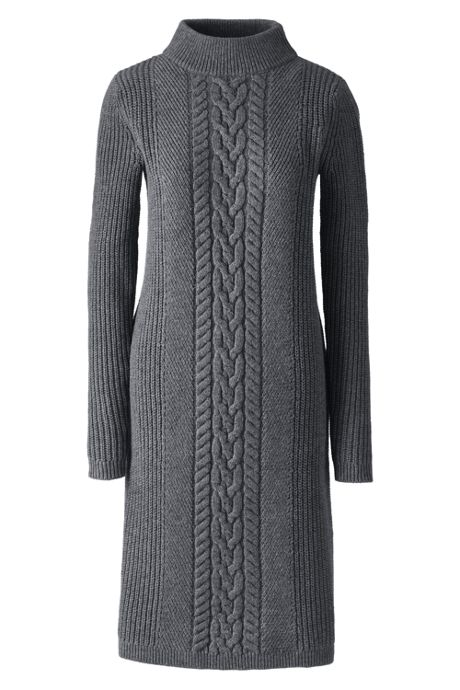 557331afd0 Women s Plus Size Long Sleeve Mock Neck Cable Sweater Dress