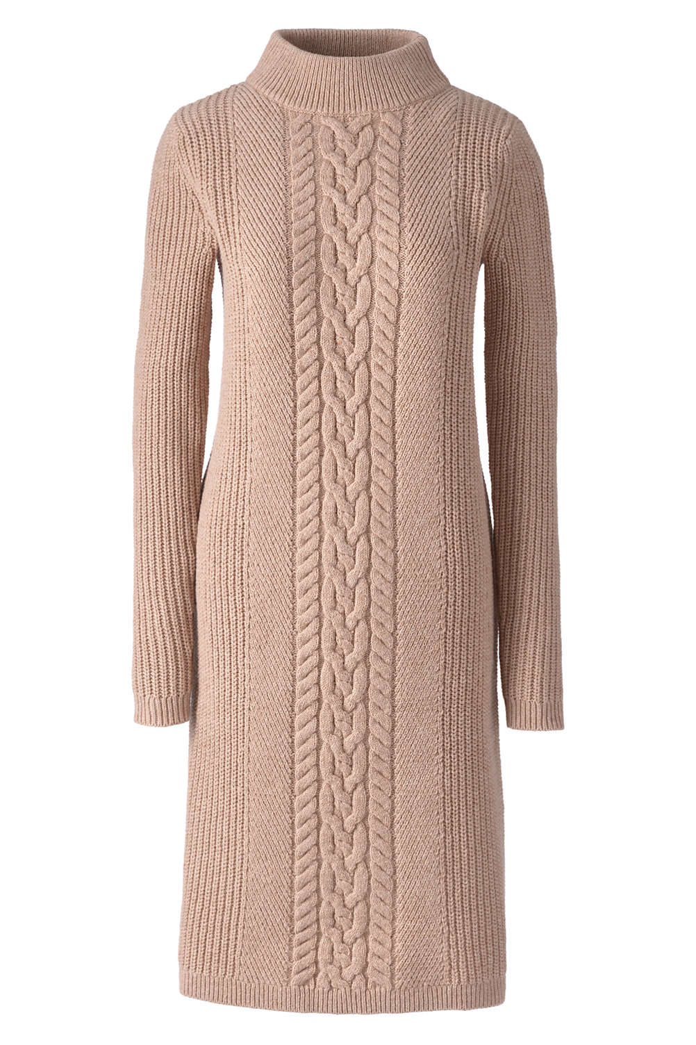 a6121fe163 Women s Plus Size Long Sleeve Mock Neck Cable Sweater Dress from Lands  End