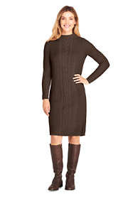 Women's Long Sleeve Mock Neck Cable Sweater Dress