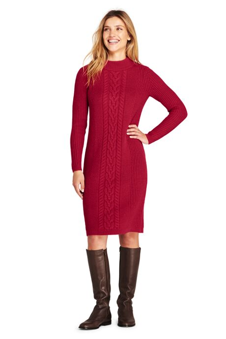 Women's Petite Long Sleeve Mock Neck Cable Sweater Dress