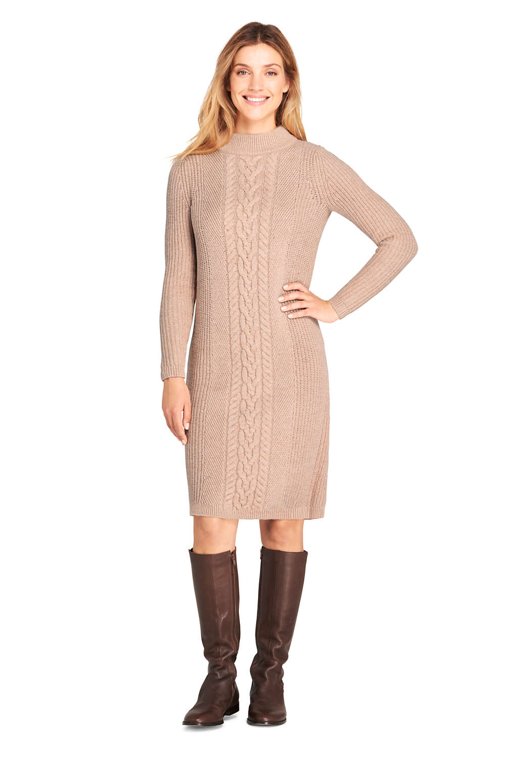 2cebaa001bf Women s Long Sleeve Mock Neck Cable Sweater Dress from Lands  End