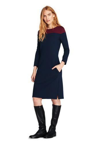 Women's Colourblock Shift Dress with 3-quarter sleeves