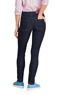Women's 360 Stretch Mid Rise Straight Leg Jeans - Blue, Back