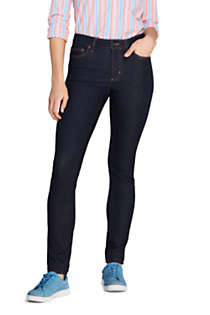Women's 360 Stretch Mid Rise Straight Leg Jeans - Blue, Front