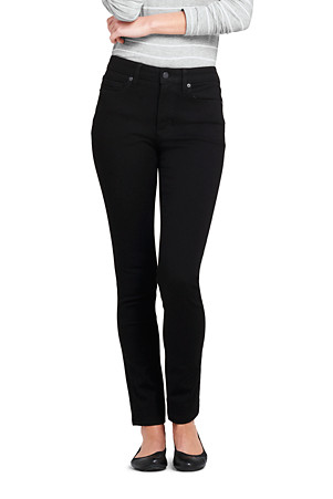 b26f48be658a Women's Mid Rise 360° Stretch Slim Black Jeans | Lands' End