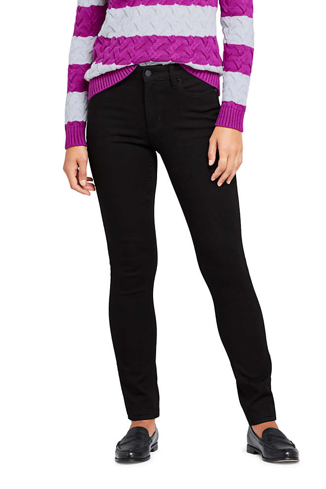 Women's 360 Stretch Mid Rise Straight Leg Jeans - Black , Front