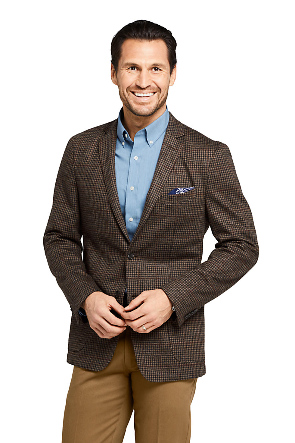 Lands End Mens Comfort-First Houndstooth Knit Blazer