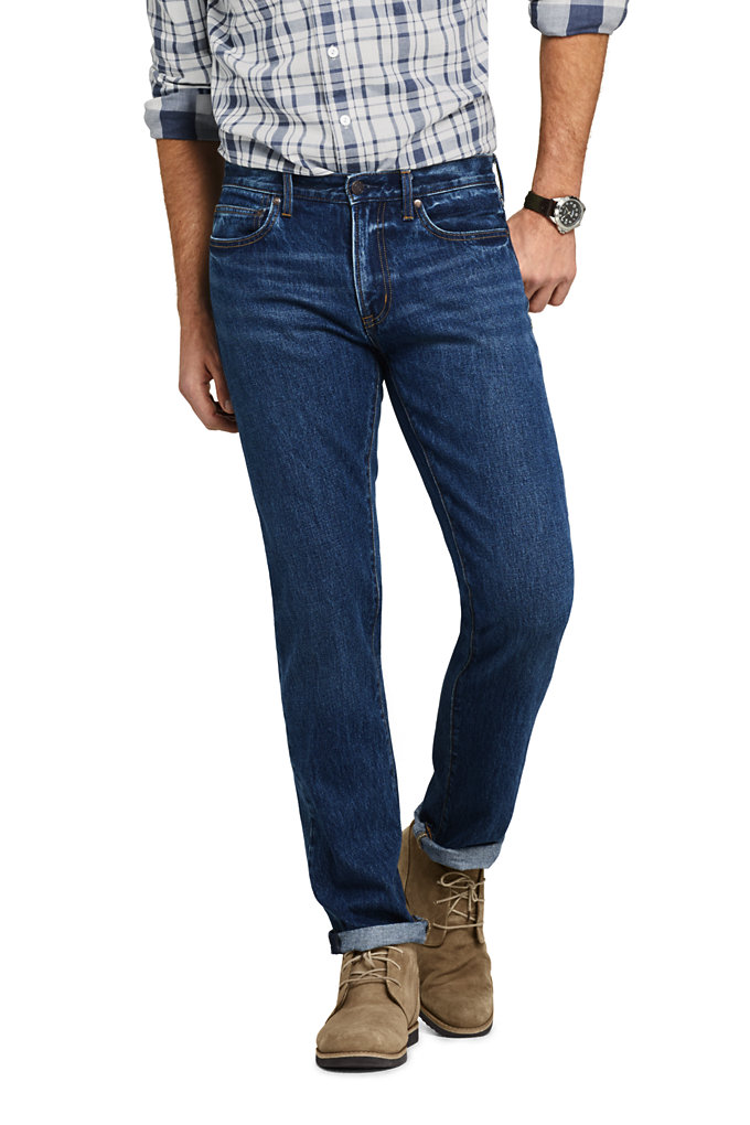 Men's Straight Fit 5 Pocket Jeans - Lands' End