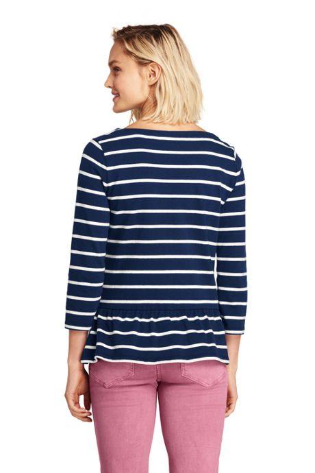 7a9071239e605 ... Women s 3 4 Sleeve Stripe Boatneck Peplum Top