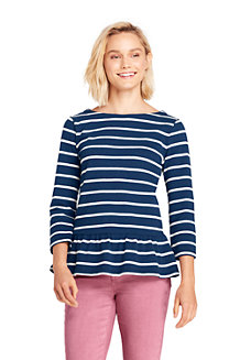 Women's Striped Cotton Jersey Peplum Hem Top