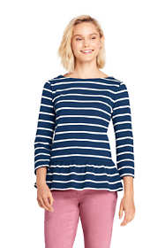 Women's Petite 3/4 Sleeve Stripe Boatneck Peplum Top