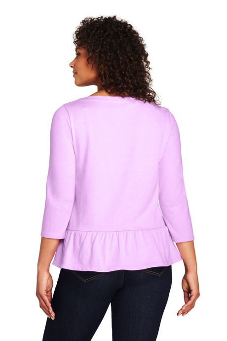 Women's Plus Size 3/4 Sleeve Boatneck Peplum Top