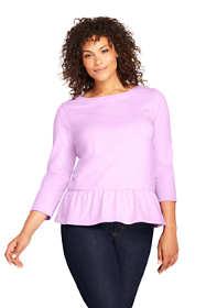 Women's Plus Size 3/4 Sleeve Boatneck Peplum Top