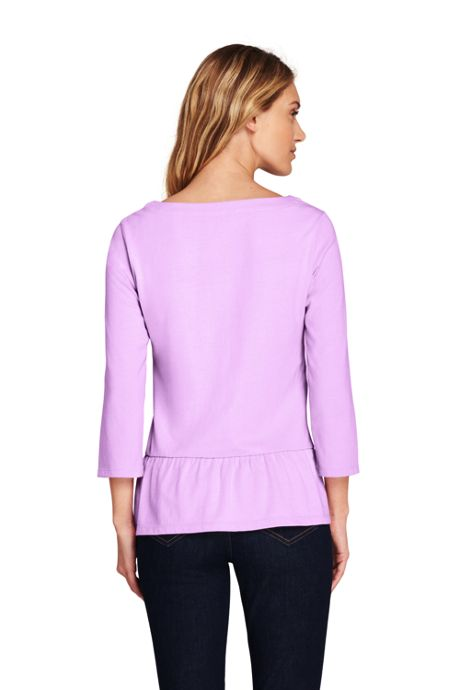 Women's Petite 3/4 Sleeve Boatneck Peplum Top