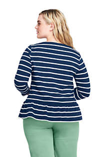Women's Plus Size 3/4 Sleeve Stripe Boatneck Peplum Top, Back