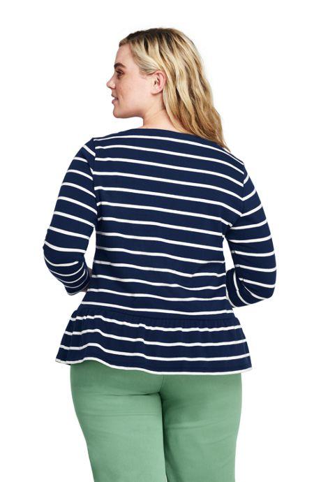 Women's Plus Size 3/4 Sleeve Stripe Boatneck Peplum Top