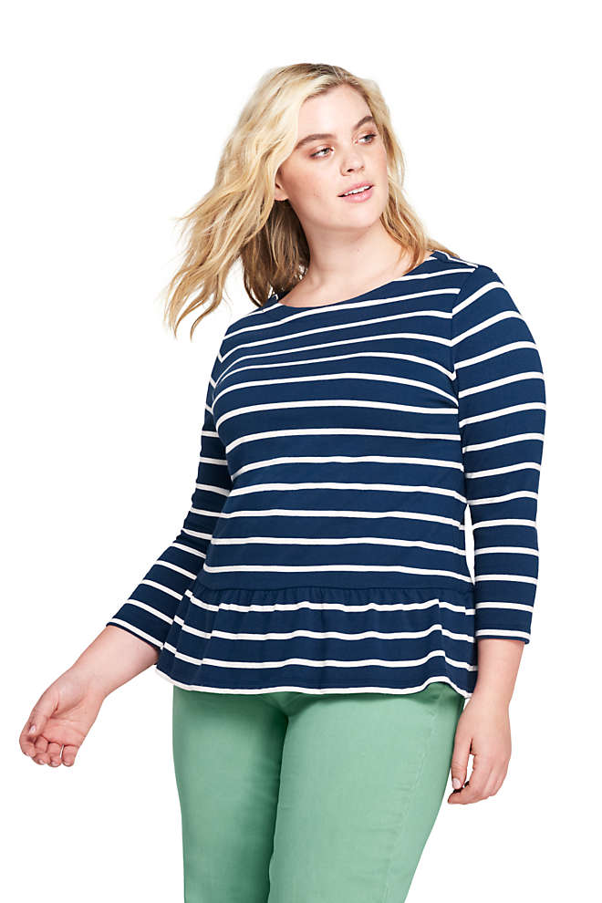 Women's Plus Size 3/4 Sleeve Stripe Boatneck Peplum Top, Front