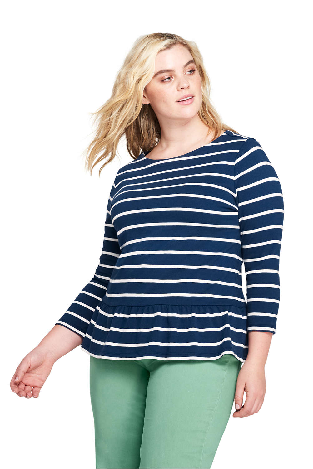 2c825b378eb83 Women s Plus Size 3 4 Sleeve Stripe Boatneck Peplum Top from Lands  End