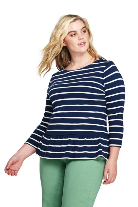 Women's Plus Size 3/4 Sleeve Stripe Boatneck Peplum Top