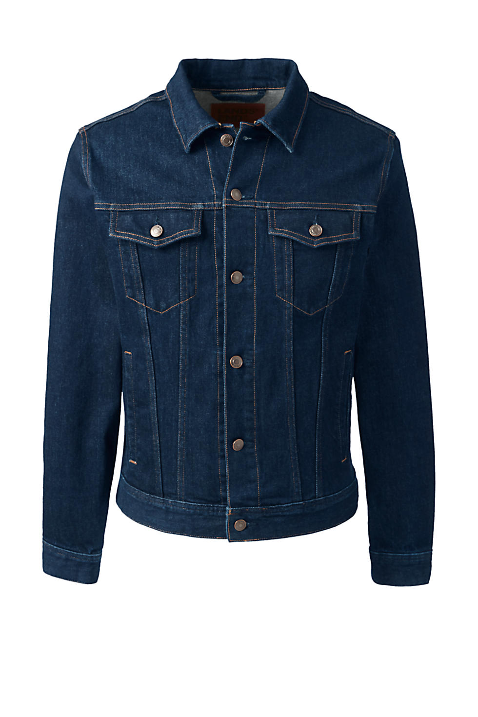 Lands End Mens Comfort First Denim Trucker Jacket (Rinse)