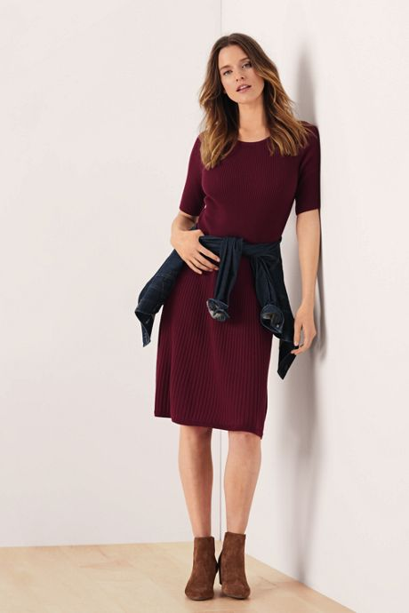 Women's Elbow Sleeve Fine Gauge Rib Sweater Dress