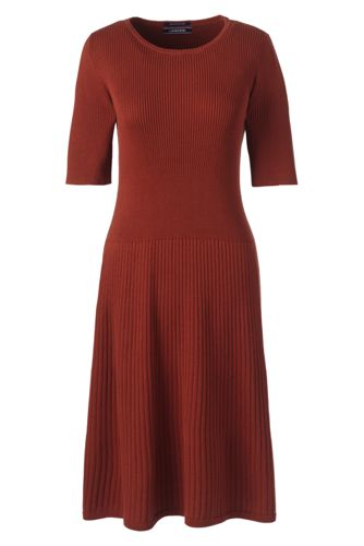 Women's Petite Supima Cotton Rib Sweater Dress