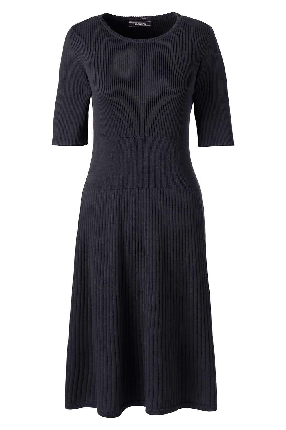 d4efac16f2ac Women's Elbow Sleeve Fine Gauge Rib Sweater Dress from Lands' End