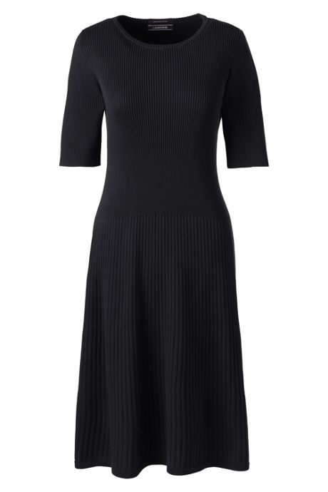 Women's Plus Size Elbow Sleeve Fine Gauge Rib Sweater Dress