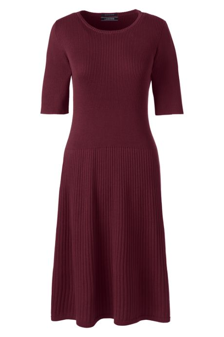 Women's Petite Elbow Sleeve Fine Gauge Rib Sweater Dress
