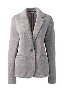 Women's Plus Size Textured Sweater Fleece Blazer, Front