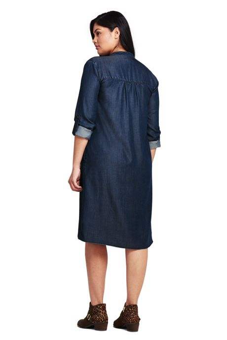 Women's Plus Size Long Sleeve Tuxedo Bib Shirt Dress