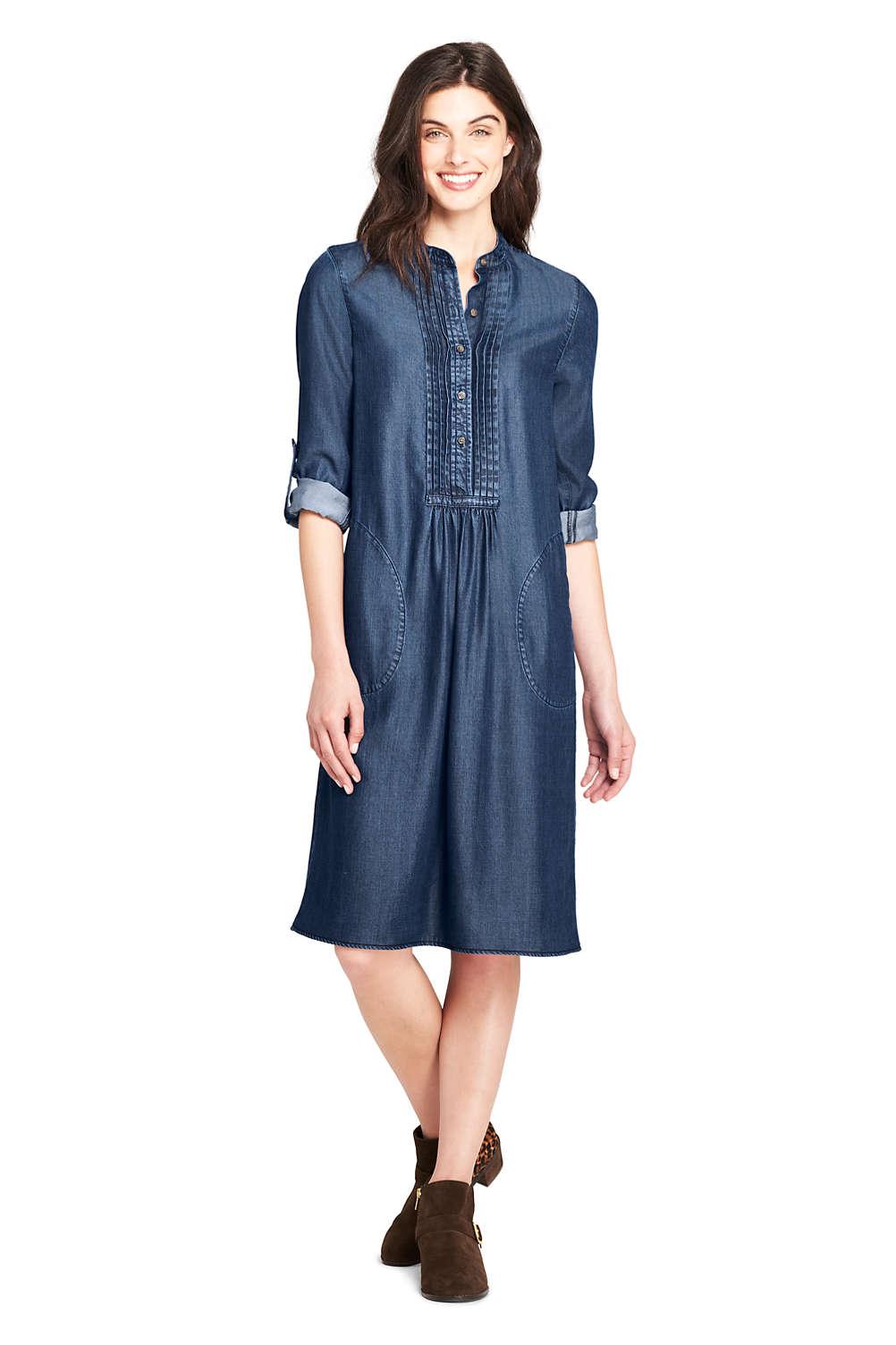 Women s Long Sleeve Tuxedo Bib Shirt Dress from Lands  End 38921115c