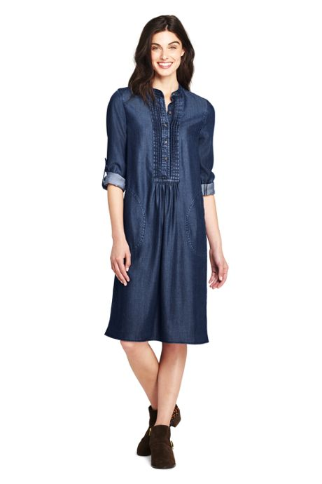 Women's Long Sleeve Tuxedo Bib Shirt Dress