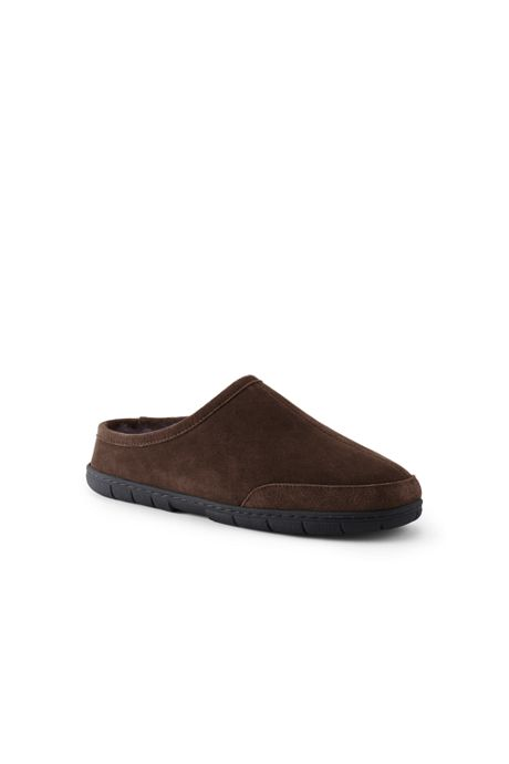 Men's Suede Leather Shearling Fur Clog Slippers