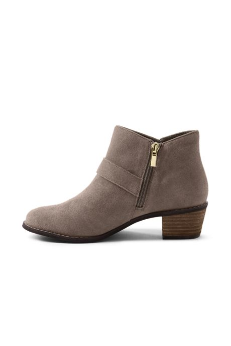 Women's Wide Suede Block Heel Buckle Booties