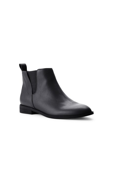 Women's Wide Width Leather Side Zip Chelsea Boots
