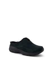 School Uniform Women's Wide All Weather Suede Leather Slip On Clog Shoes