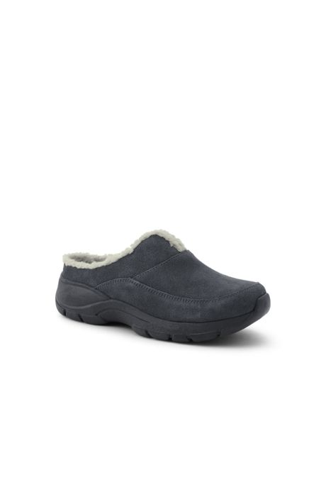 Women's All Weather Suede Leather Slip On Clog Shoes