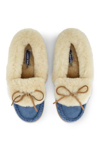 21edf04a5ea4 Women s Suede Moccasin Slippers with Shearling Collar