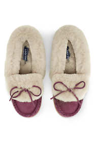 Women's Suede Leather Shearling Fur Moccasin Slippers